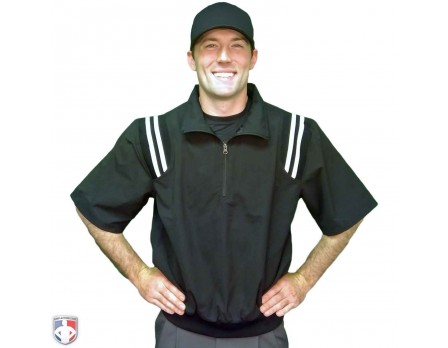 S324-BK/WT Smitty Traditional Half-Zip Short Sleeve Umpire Jacket - Black and White Worn Front View