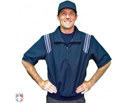 Smitty Traditional Half-Zip Short Sleeve Umpire Jacket - Navy and Powder Blue