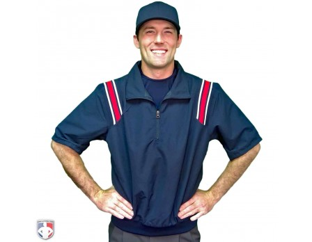 S324-N/R Smitty Traditional Half-Zip Short Sleeve Umpire Jacket - Navy with Red and White Worn Front View