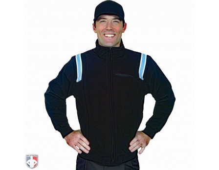 S330-BK/PB Smitty Major League Style Fleece Lined Umpire Jacket - Black and Polo Blue Front View