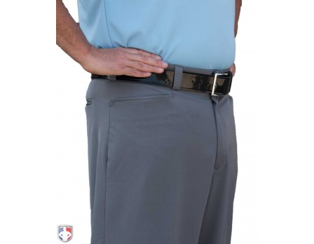 S397-HG-Smitty Performance Poly Spandex Heather Grey Flat Front Combo Umpire Pants