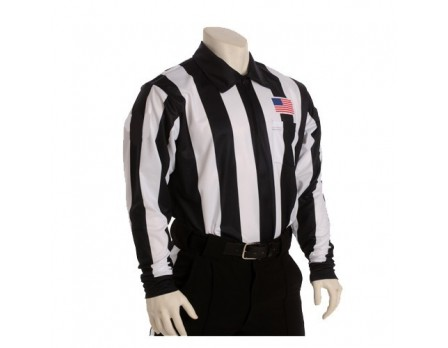 "USA129 Smitty 2 1/4"" Stripe Fleece-Lined Cold Weather Football Referee Shirt with CHEST USA FLAG"