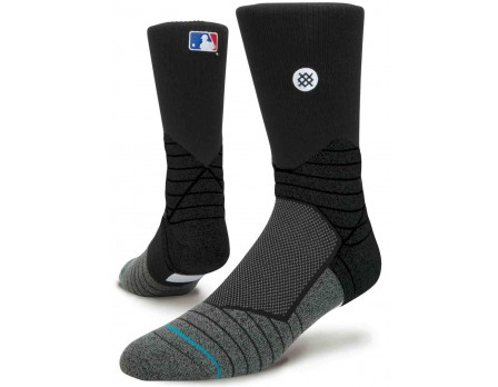 STN-MLB-CREW-BK Stance MLB Diamond Pro Crew Socks - Black Front and Back View Together