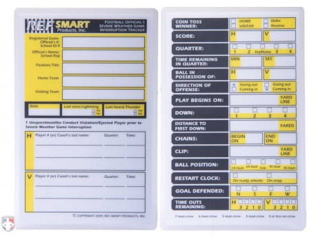 FB-SWTRACK REFSMART FOOTBALL REFEREE SEVERE WEATHER RESTART CARD