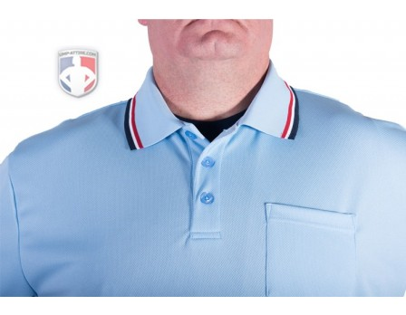 Smitty Pro Knit Umpire Shirt - Powder Blue with Red-White-Navy Trim
