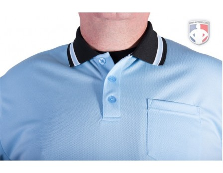 U126-300 Smitty Pro Knit Umpire Shirt - Powder Blue with Black Collar