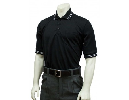 U126-BK Smitty Pro Knit Umpire Shirt - Black Front View