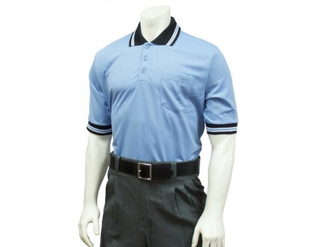 U126-CCBK Smitty Pro Knit Umpire Shirt - Carolina Blue with Black Collar Front View
