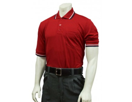 U126-SC Smitty Pro Knit Umpire Shirt - Scarlet Front View