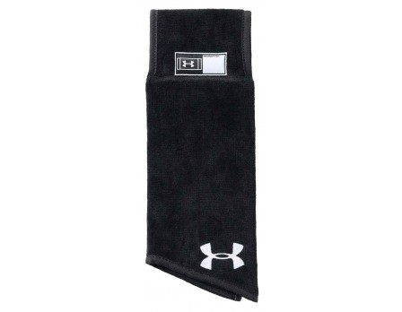 UA-FB-TOWEL-BK Under Armour Undeniable Football Referee Towel - Black Front View