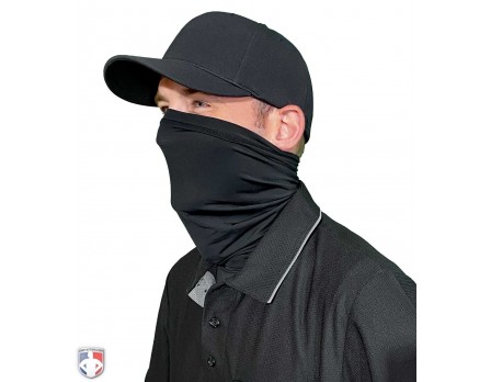 ULF-GAITER UMPLIFE Neck Gaiter Mask - Black Worn Up Front Angled View