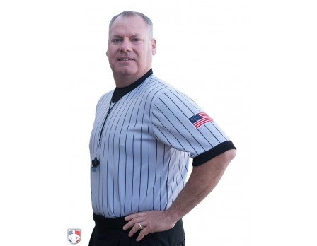 USA205 Smitty Dye Sublimated Grey V-Neck Referee Shirt with Black Pinstripes and USA FLAG