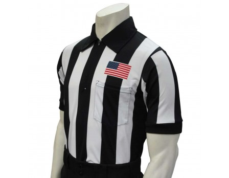 "USA109-Smitty 2 1/4"" Stripe Short Sleeve Football Referee Shirt with CHEST USA FLAG Front"