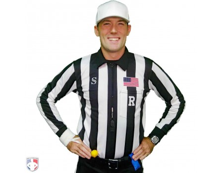 "Smitty 2"" Stripe Heavyweight Interlock Long Sleeve Football Referee Shirt with Position Placket"