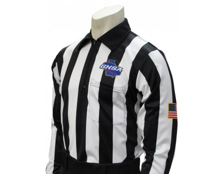 "Georgia (GHSA) 2"" Stripe Long Sleeve Football Referee Shirt"