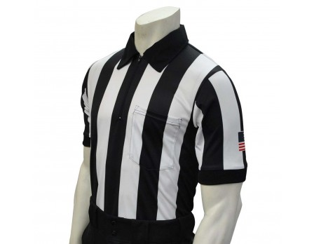 "USA137 Smitty 2 1/4"" Stripe Short Sleeve Football Referee Shirt with SLEEVE USA FLAG"