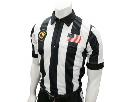 "California (CIF) 2 1/4"" Stripe Short Sleeve Football Referee Shirt - No Black Side Panel"