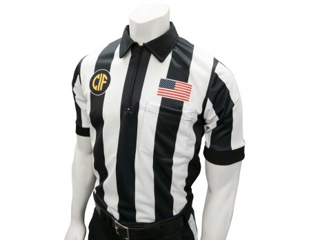 "USA137CA-FLEX California (CIF) 2 1/4"" Stripe Body Flex Short Sleeve Football Referee Shirt - No Black Side Panel"