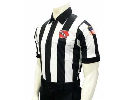 "USA137IA-FLEX Iowa (IHSAA) 2 1/4"" Stripe Body Flex Short Sleeve Football Referee Shirt"