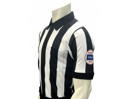 "Kansas (KSHSAA) 2 1/4"" Stripe Short Sleeve Football Referee Shirt"