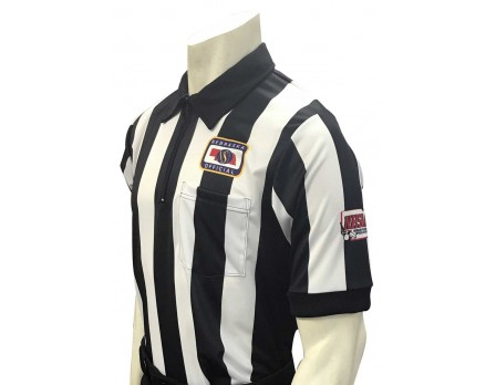 "Nebraska (NSAA) 2 1/4"" Stripe Short Sleeve Football Referee Shirt with NHSOA Logo"