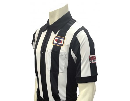 "USA137NE-NHS-FLEX Nebraska (NSAA) 2 1/4"" Stripe Body Flex Short Sleeve Football Referee Shirt with NHSOA Logo"