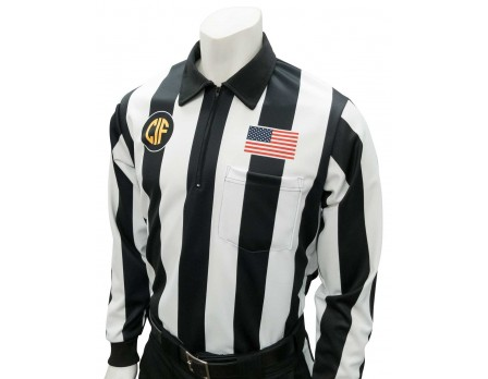 "USA138CA California (CIF) 2 1/4"" Stripe Long Sleeve Football Referee Shirt - No Black Side Panel"