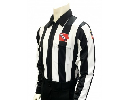 "USA730IA-225 Iowa (IHSAA) 2 1/4"" Stripe Foul Weather Football Referee Shirt"