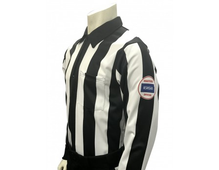 "USA730KS-225 Kansas (KSHSAA) 2 1/4"" Stripe Foul Weather Football Referee Shirt"