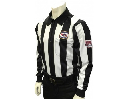 "USA138NE-NHS Nebraska (NSAA) 2 1/4"" Stripe Long Sleeve Football Referee Shirt with NHSOA Logo"
