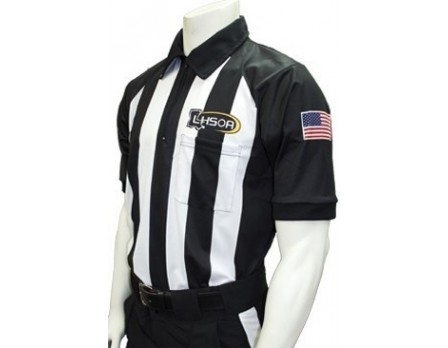 "USA155LA-FLEX Louisiana (LHSOA) 2 1/4"" Stripe Body Flex Short Sleeve Football Referee Shirt"
