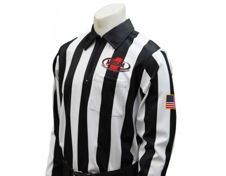 "USA730MS Mississippi (MHSAA) 2"" Stripe Foul Weather Football Referee Shirt"