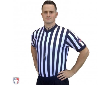"USA200-FLEX Smitty 1"" Stripe Body Flex V-Neck Referee Shirt with USA Flag"