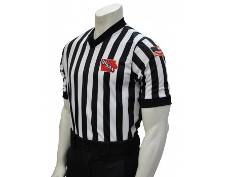 "USA200IA-FLEX Iowa (IHSAA) 1"" Stripe Body Flex Men's V-Neck Referee Shirt"