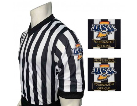 "Indiana (IHSAA) 1"" Stripe Body Flex Men's V-Neck Referee Shirt"