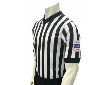"USA200KS-FLEX Kansas (KSHSAA) 1"" Stripe Body Flex Men's V-Neck Basketball Referee Shirt"