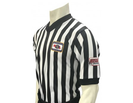"USA200NE-NHS-FLEX Nebraska (NSAA-NHSOA) 1"" Stripe Body Flex Men's V-Neck Referee Shirt with NHSOA Logo"