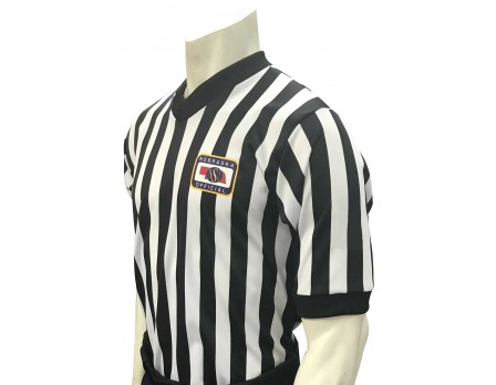 "USA200NE-FLEX Nebraska (NSAA) 1"" Stripe Body Flex Men's V-Neck Referee Shirt"