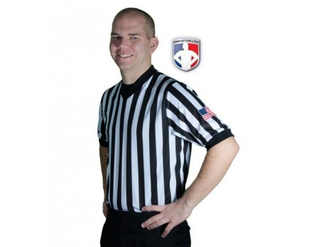 "Smitty Dye Sublimated 1"" Stripe V-Neck Referee Shirt with USA FLAG"