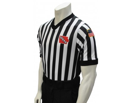 "USA201IA-FLEX Iowa (IHSAA) 1"" Stripe Body Flex Men's V-Neck Referee Shirt with Side Panels"