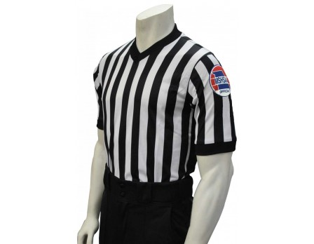 "USA201MO-FLEX Missouri (MSHSAA) 1"" Stripe Body Flex Men's V-Neck Referee Shirt with Side Panels"