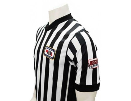 "USA201NE-NHS-FLEX Nebraska (NSAA-NHSOA) 1"" Stripe Body Flex Men's V-Neck Referee Shirt with NHSOA Logo & Side Panels"