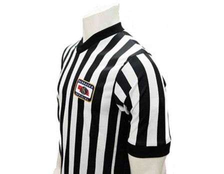 "USA201NE-FLEX Nebraska (NSAA) 1"" Stripe Body Flex Men's Referee Shirt with Side Panels"