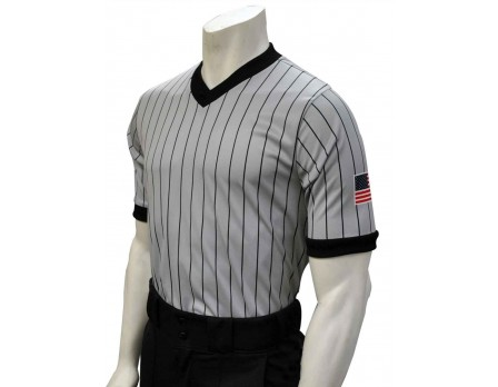 USA205 Grey V-Neck Referee Shirt with Black Pinstripes and USA Flag on Left Sleeve Front View