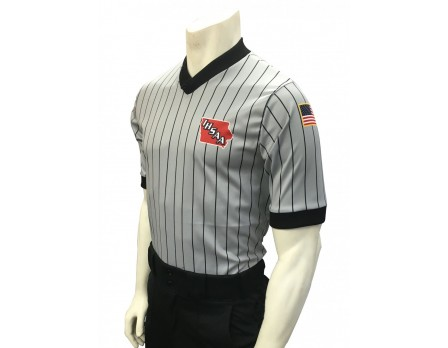 IHSAA Iowa High School Athletic Association Grey V-Neck Referee Shirt