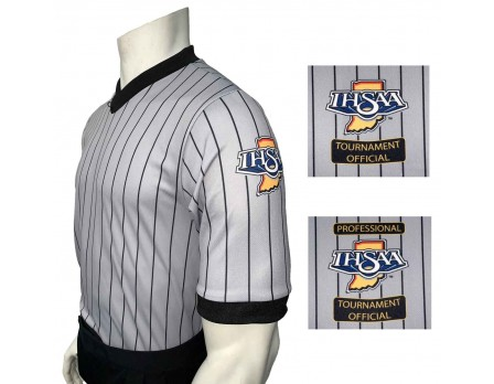 USA205IN Indiana (IHSAA) Grey V-Neck Wrestling Referee Shirt