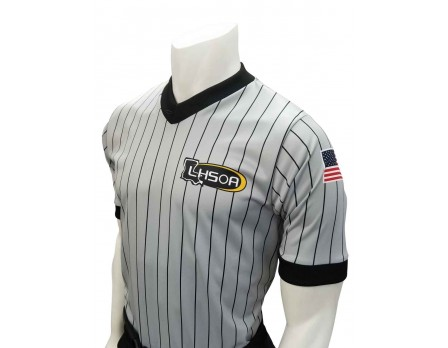 USA205LA-FLEX Louisiana (LHSOA) Body Flex Grey V-Neck Wrestling Referee Shirt