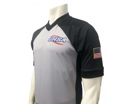 USA207GA Georgia (GHSA) Men's Grey & Black V-Neck Referee Shirt