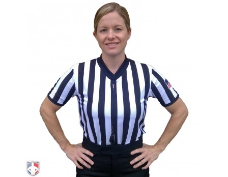 "Smitty Women's 1"" Stripe Body Flex V-Neck Referee Shirt with USA Flag"