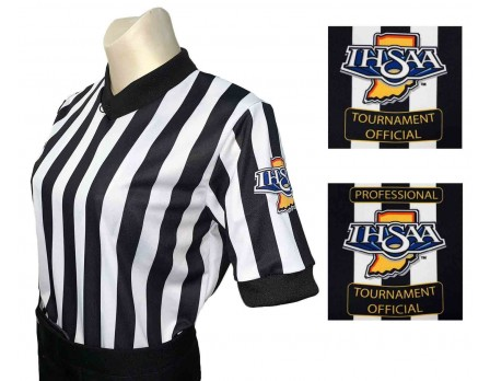 "Indiana (IHSAA) 1"" Stripe Women's V-Neck Referee Shirt"